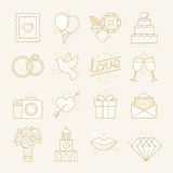 Vector set of linear icons related to love Royalty Free Stock Photography