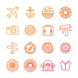 Vector set of linear icons related to summer Stock Photos