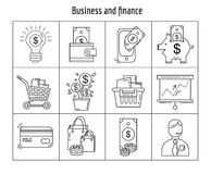 Vector set of linear icons Simple flat design. Vector set of business and finance Linear icons Royalty Free Stock Photography