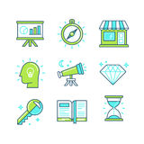Vector set of linear icons in trendy style Royalty Free Stock Image