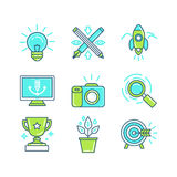 Vector set of linear icons in trendy style Stock Photo