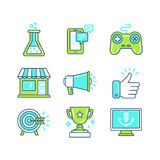 Vector set of linear icons in trendy style Stock Photos