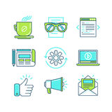 Vector set of linear icons in trendy style Royalty Free Stock Images
