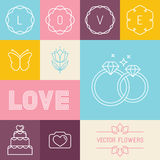 Vector set of linear icons for wedding invitations Stock Image
