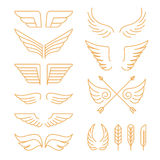 Vector set of linear icons - wings Stock Photos