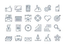 01 Outline BUSINESS icons set. Vector set of 24 linear outline deep dark blue icons. Successful business isolated pictographs. Startup, computer, office items Stock Photo