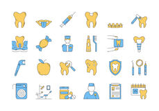 Linear COLOR icon set 7 - DENTAL CARE. Vector set of 24 linear outline icons. Dental care isolated pictographs. Teeth, tools, treatment, professional health care Stock Photo