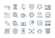 03 Outline INTERNET icons set. Vector set of linear outline icons. Internet technology isolated pictographs. Globe, router, device, server and users royalty free illustration