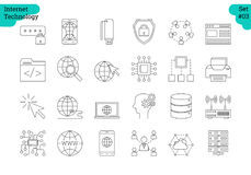 Linear icon set 3 - INTERNET OF THINGS. Vector set of 24 linear outline icons. Internet technology isolated pictographs. Startup, computer, office items, setting Stock Images