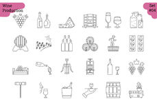 Linear icon set 4 - WINE PRODUCTION. Vector set of 24 linear outline icons. Wine production and service isolated pictographs. Viticulture, winemaking and storage Royalty Free Stock Image