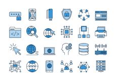 03 Blue INTERNET icons set. Vector set of 24 linear outline light and dark blue icons. Internet technology isolated pictographs. Globe, router, device, server Royalty Free Stock Photo