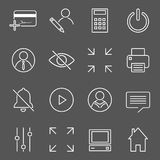 Vector set of 16 linear quality icons related to business management and processes. Basic mono line pictograms and infographics de. Sign elements for navigation Stock Images