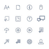 Vector set of 16 linear quality icons Royalty Free Stock Images
