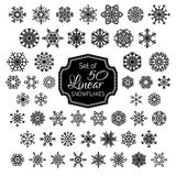 Vector Set of 50 Linear Snowflakes. Royalty Free Stock Photos