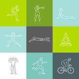Vector set of linear sport icons. And illustrations in trendy mono line style - people exercising - man and woman concepts - running, boxing, doing yoga Stock Photos