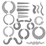 Vector set of linear wreaths - design elements for invitations a Stock Photography