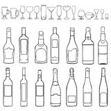 Vector Set of Lineart Bottles and Steamware Royalty Free Stock Image