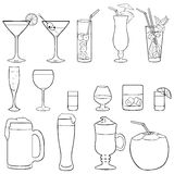 Vector Set of Lineart Cocktails and Alcohol Drinks Royalty Free Stock Photos