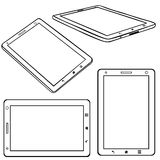 Vector Set of Lineart Tablets PC Royalty Free Stock Photo