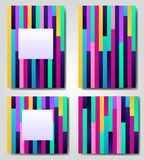 Vector set of lined abstract geometric, retro,memphis frame,banner,greeting card of different colors with shapes Royalty Free Stock Image