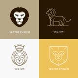 Vector set of lion logo design templates and ebmlems Royalty Free Stock Photos