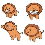 Vector set of lions. Hand drawn cartoon, doodle illustration stock illustration
