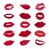 Vector set of lips. On white background Stock Image