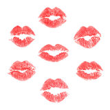 Vector set of lips prints. On white background Stock Image
