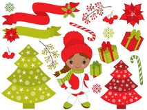 Vector Set with Little African American Girl and Christmas Festive Elements. Vector Christmas set with cute little African American girl, Xmas tree, gift boxes Royalty Free Stock Images