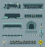 Vector Set: Locomotive Trains and Signs Royalty Free Stock Images