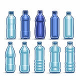 Vector Set logo blue Plastic Bottles for Water. Vector Set logo blue Plastic Bottles with cap for mineral Water, collection of 10 full dark-blue liter container Stock Image