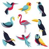 Vector set of logo design elements - birds signs. And symbols - humming bird, pigeon, toucan, swan, flamingo, parrot, eagle, owl Stock Images