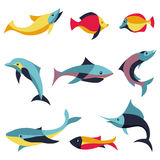 Vector set of logo design elements - fishes signs. Whale, dolphin, salmon, shark Stock Photography