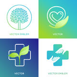 Vector set of logo design template in bright gradient colors Royalty Free Stock Photo