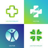 Vector set of logo design template in bright gradient colors. Health and ecology concepts - save life and care icons and emblems Royalty Free Stock Images