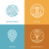 Vector set of logo design template in trendy linear style with i. Cons and emblems - travel agency emblem and tour guide concepts Royalty Free Stock Image