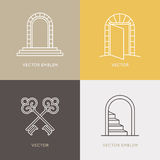 Vector set of logo design templates and emblems in trendy linear stock illustration