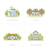 Vector set of logo design templates. And emblems in trendy linear style - cottage houses and residential structures - natural landscapes with trees and clouds vector illustration