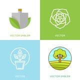 Vector set of logo design templates - gardening concepts Royalty Free Stock Image