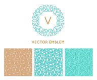 Vector set of logo design templates, seamless patterns and signs. For identity, business cards and packaging - floral shops, cosmetics packaging, beauty and spa vector illustration