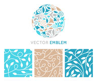 Vector set of logo design templates, seamless patterns and signs Royalty Free Stock Images