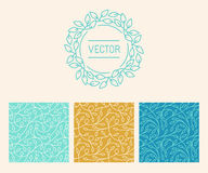 Vector set of logo design templates, seamless patterns and signs. For identity, business cards and packaging - floral shops,, cosmetics packaging, beauty and vector illustration