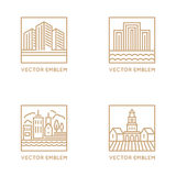 Vector set of logo design templates and symbols in trendy linear Royalty Free Stock Image