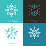 Vector set of logo design templates in trendy linear style Royalty Free Stock Photos