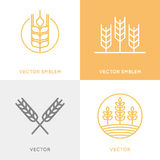 Vector set of logo design templates in trendy linear style Royalty Free Stock Image