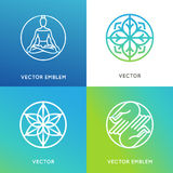 Vector set of logo design templates in trendy linear style Royalty Free Stock Photo