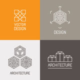 Vector set of logo design templates. In trendy simple linear style - emblems and signs for architecture studios, object designers, new media artists and Royalty Free Stock Photo