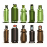 Vector Set logo Glass Bottles with metal cap. For alcohol drink, collection of 10 plastic green and brown container bottle with lid for cooking oil or balsamic Royalty Free Stock Photo