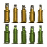 Vector Set logo Glass Bottles. With metal cap for fizzy drink, collection of 10 plastic green and brown container bottle with lid for sesame oil or fruit Royalty Free Stock Photo