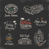Vector set of logos, badges and emblems with hand inscription California beach. Royalty Free Stock Photos